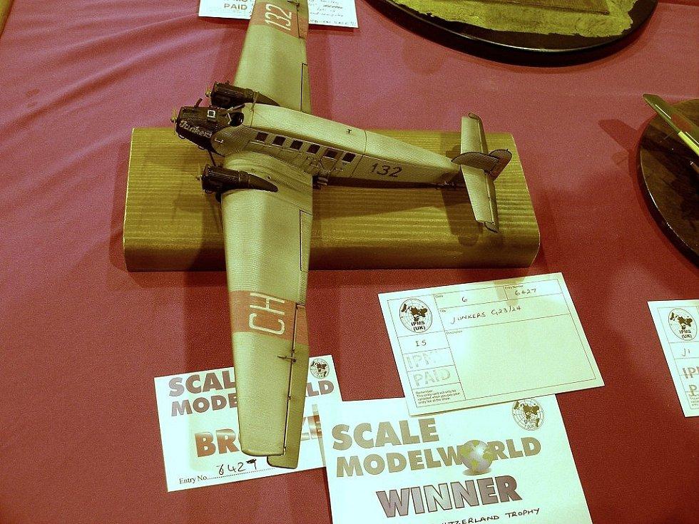 Model letadla Junkers G24 v měřítku 1:72 Martina Němce získal bronzovou medaili a cenu za nejlepší model ve švýcarských barvách