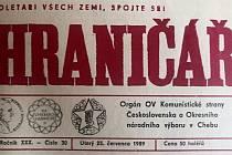 Chebský Hraničář z 25. července 1989.