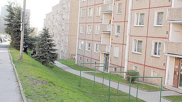Policisté opouštějí panelový dům na chebském sídlišti Zlatý vrch, kde našli mrtvou seniorku