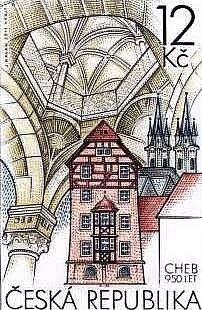 Hradní kaple, kostel svatého Mikuláše a Špalíček. Tyto objekty budou zdobit poštovní známku, která vznikla u příležitosti oslav 950 let od první písemné zmínky o Chebu.