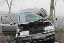 Na zledovatělé vozovce dostalo vozidlo smyk a narazilo do stromu.