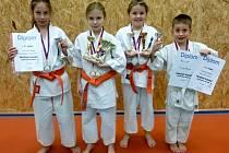 Devět cenných medailí si připsaly na konto naděje františkolázeňského karate v rámci Pražského poháru.