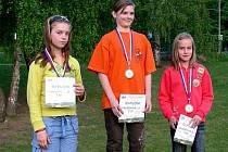 Stupně vítězů závodů na Moravě: zleva Michaela Kučová (Cheb), Barbora Matoušková (Praha), Kateřina Bžatková (Bílovice n/Sv.).