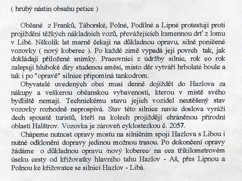 Nástin textu petice Hazlovských