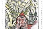 K VÝROČÍ 950TI LET od první písemné zmínky o Chebu  se včera začala prodávat poštovní známka, na které je vyobrazený Špalíček, klenby hradní kaple a nové věže chebského kostela svatého Mikuláše.