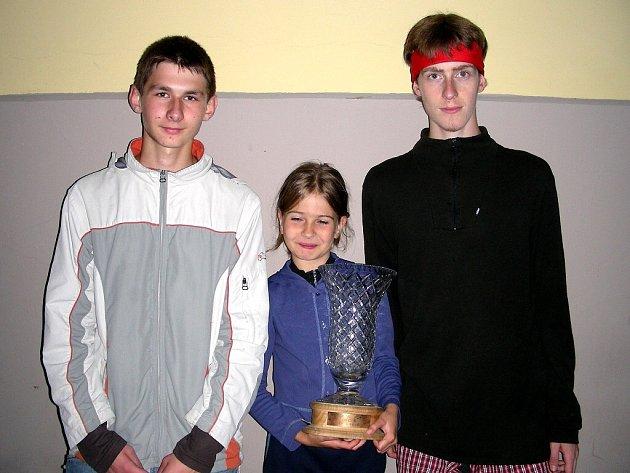 Roman Borovičkqa, Katka Papežová a Jiří Vlach (zleva). Úspěšní členové oddílu ROB Cheb