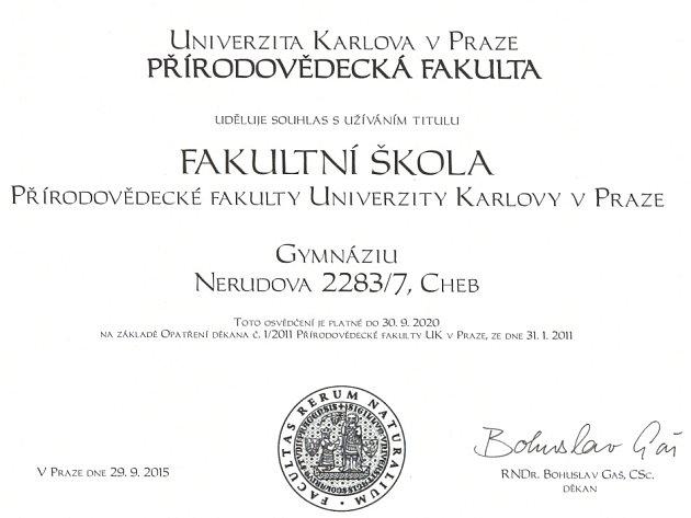 Gymnázium Cheb se stalo fakultní školou.