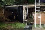Požár v chebské garáži.
