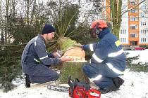 Výcvik, který vedl zkušený chebský hasič Jan Štrér (vlevo), se uskutečnil na sídlišti Spáleniště v Chebu.