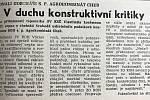 Každé úterý přinášíme zprávy, které jste si mohli přečíst před 30 lety v Hraničáři.