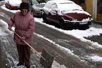 Sněhová nadílka v Chebu 12. prosince