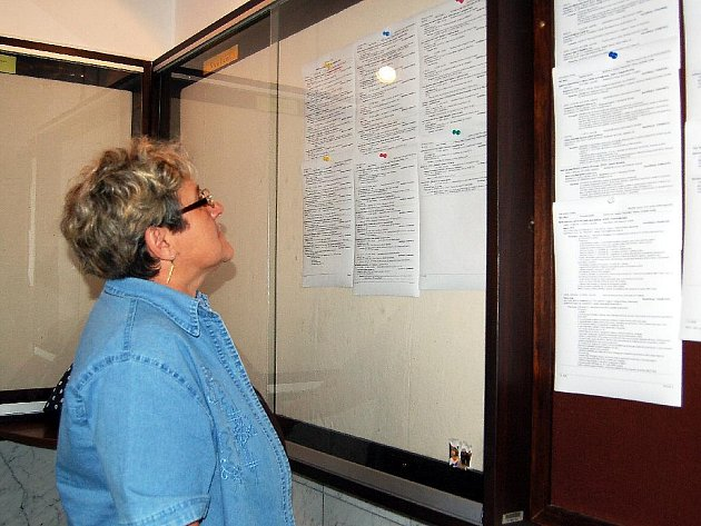 Informační desku na chebském úřadu práce stále někdo studuje. Miluše Šupicová (na snímku) z Lubů hledá nové zaměstnání od začátku roku. Podnik, ve kterém pracovala, krize donutila propouštět.