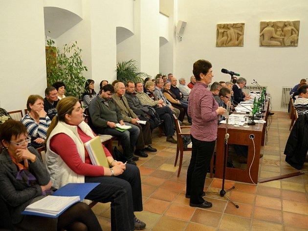 OBČANÉ VYSTOUPILI proti prodeji pozemku investorovi z Kladna i na lednovém jednání chebských zastupitelů (Jana Holková sedí nalevo v bílé vestě).