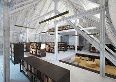 """Předložený projekt řeší vybudování unikátní, """"neviditelné"""" přístavby knihovny v bývalém hradebním příkopu a rekonstrukci vnitřku stávající hlavní budovy."""