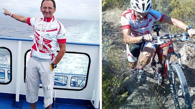 Pavel Santo z Chebu (vlevo se vrací  ze závodů, vpravo při absolvování náročné cyklistické části). Chebský závodník se druhým místem kvalifikoval na mistrovství světa  na Hawai.