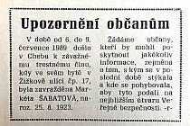 Chebský Hraničář z 18. července 1989.