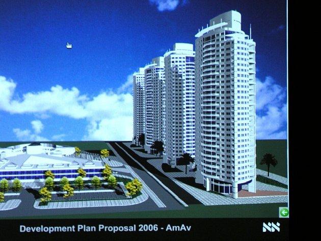 ARCHITEKTONICKÁ STUDIE, jak by měly vypadat mrakodrapy v komplexu postaveném izraelskou skupinou investorů.  Se stavbou se počítalo už v polovině letošního roku, ale kvůli celosvětové ekonomické krizi dojde ke zpoždění plánů.