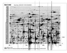 SEISMOGRAM ze seismické stanice v Chlumu Svaté Maří jasně ukazuje, jakým způsobem zemětřesný roj pod Karlovarským krajem postupoval.