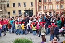 Celkem devět set padesát lidí se včera ráno shromáždilo na chebském náměstí Krále Jiřího z Poděbrad. Všichni sem přišli s jediným cílem, vytvořit svými těly číslici 950. To se nakonec podařilo a lidé vytvořili nový rekord.