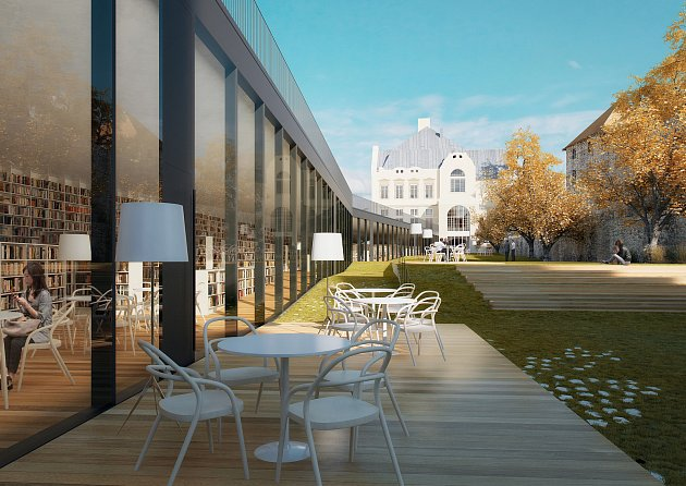 """Předložený projekt řeší vybudování unikátní, """"neviditelné"""" přístavby knihovny vbývalém hradebním příkopu a rekonstrukci vnitřku stávající hlavní budovy."""