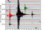 Seismogram z německé seismické stanice, který zachytil večerní záchvěv země v Karlovarském kraji.