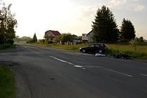 Místo tragické nehody motorkáře u Františkových Lázní