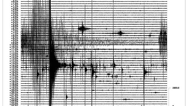 Seismograf z Nového Kostela, který zachytil víkendové zemětřesení.