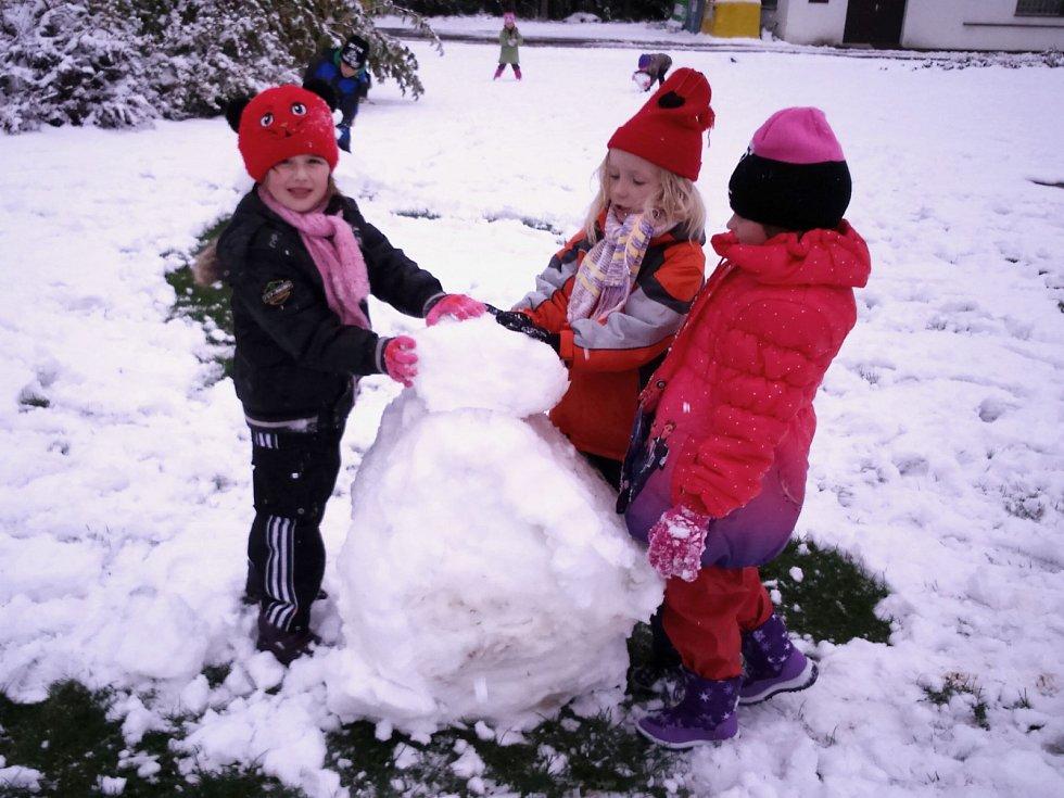Sněhová nadílka v Karlovarském kraji.