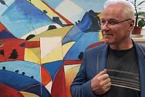 KAREL SOUKUP se na výstavě v Nové Roli představuje především jako krajinář. Jeho tvorba určitě stojí za vidění.