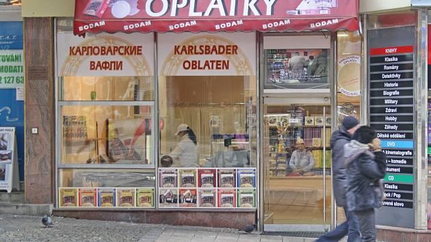 Jedna ze dvou míst, kde se dá na T. G. Masaryka koupit lázeňská oplatka