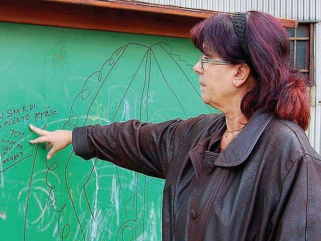 Vandalství. Vedoucí učitelka školky Jitka Baltyzarová je ze situace nešťastná. A neví si podle svých slov rady. Proto řeší situaci stížností na magistrát. Romové nevratně poškodili i novou tabuli.