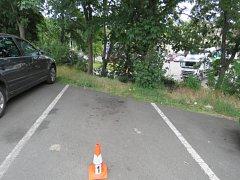 Nezabrzděné auto se rozjelo a narazilo do stromu.