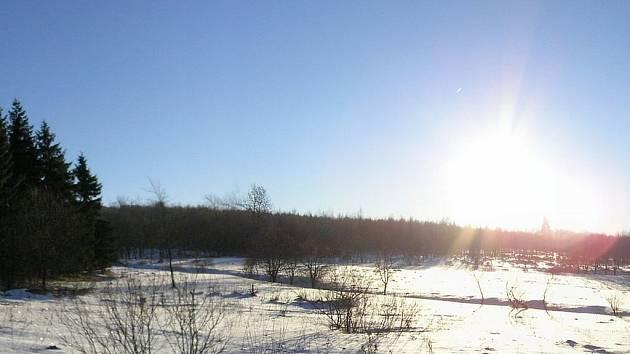Zimní příroda ve vojenském prostoru Doupov.