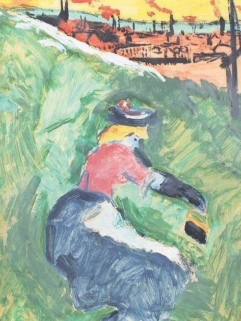 Konec idyly. Obraz Za městem (1907) od Emila Filly naznačuje přechod od impresionistického tématu ke sváru mezi přírodou a civilizací