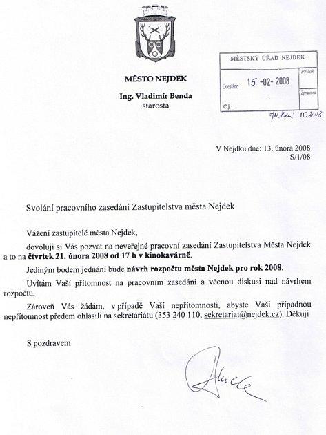Pozvánka na pracovní zasedání zastupitelstva města Nejdek.