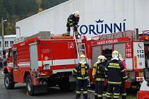 Požár ve stáčírně minerálních vod v Korunní.