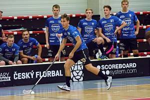 Zápas gólmanů. Florbalová 1. liga mužů před dvoutýdenní pauzou přinesla o víkendu do haly míčových sportů v Karlových Varech peprný souboj, když do lázní zamířili Kanonýři Kladno.