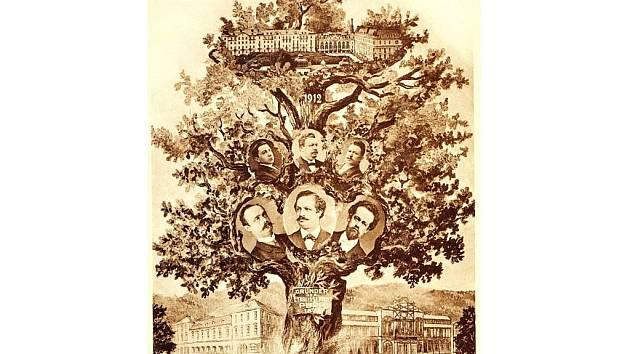 Pozvánka na rodinný banket Puppů k výročí založení firmy 1912 — Stammbaum der Familie Pupp.