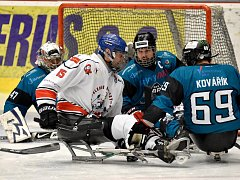 O víkendu si hráči karlovarského SKV Sharks (v modrém) připsali na konto výhru 4:0 nad Olomoucí, k tomu pak přidali prohru s Pardubicemi 4:6.