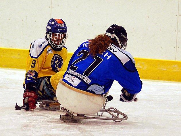 Ve čtvrtém kole sledgehokejové ligy prohráli hráči úřadujícího mistra SKV Sharks Karlovy Vary (v modrém) Sedícím Medvědům ze Zlína v poměru 3:7.