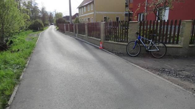 Místo nehody cyklistky.