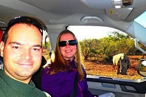 Světoběžníci s novým kamarádem v národním parku Kruger