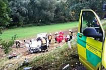 Místo nehody, kde pomohli karlovarští hasiči.