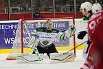 Hokejové utkání WSM Ligy - play off mezi celky HC Slavia Praha a  HC Energie Karlovy Vary 18. března v Praze. Brankář Energie Filip Novotný.
