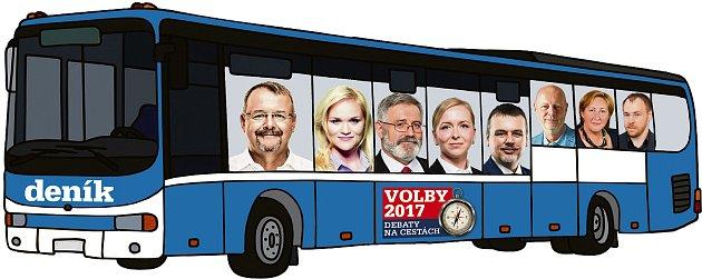 Volební autobus Deníku. Zleva jsou Dan Ťok (ANO), Markéta Wernerová (ČSSD), Jaroslav Borka (KSČM), Karla Maříková (SPD), Jan Bureš (ODS), Petr Zahradníček (TOP 09), Olga Haláková (KDU-ČSL) a Petr Třešňák (Piráti).
