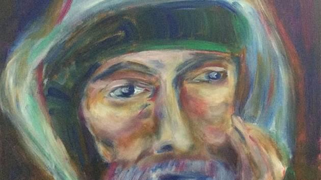 Lékař a malíř v jedné osobě přestavuje své malby.