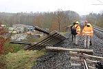 Poškozená trať na Karlovarsku