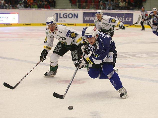 Hokejisty karlovarské Energie a plzeňského HC 1929 čeká v neděli druhý vzájemný duel v sezoně. To první, ze kterého je snímek, vyhrála Energie na svém ledě vysoko 7:0.
