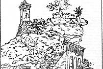 GOETHOVA kresba Hradní věže na skále v Nejdku.
