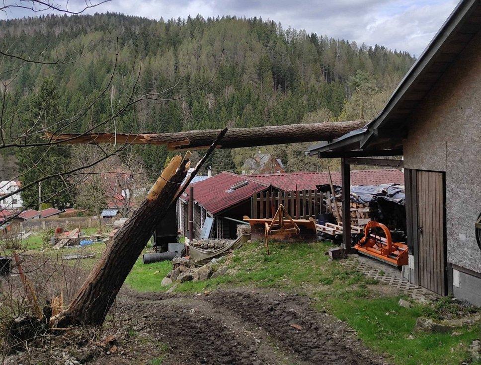 Kvůli větru zasahovali hasiči u 45 událostí. Padaly stromy i reklamy